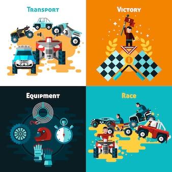 Conjunto de ícones de conceito offroad
