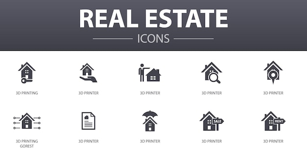 Conjunto de ícones de conceito simples de bens imobiliários. contém ícones como propriedade, corretor de imóveis, localização, propriedade à venda e muito mais, pode ser usado para web, logotipo, ui / ux