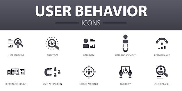 Conjunto de ícones de conceito simples de comportamento do usuário. contém ícones como analytics, dados do usuário, desempenho, usabilidade e muito mais, pode ser usado para web, logotipo, ui / ux