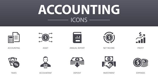 Conjunto de ícones de conceito simples de contabilidade. contém ícones como ativo, relatório anual, lucro líquido, contador e mais, pode ser usado para web, logotipo, ui / ux