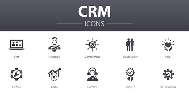 Conjunto de ícones de conceito simples de crm. contém ícones como cliente, gerenciamento, relacionamento, serviço e muito mais, pode ser usado para web, logotipo, ui / ux