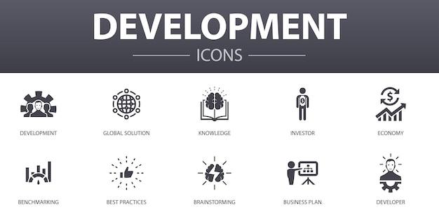Conjunto de ícones de conceito simples de desenvolvimento. contém ícones como solução global, conhecimento, investidor, brainstorming e muito mais, pode ser usado para web, logotipo, ui / ux