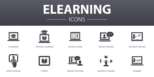 Conjunto de ícones de conceito simples de e-learning. contém ícones como ensino à distância, treinamento online, treinamento em vídeo, webinar e mais, pode ser usado para web, logotipo, interface do usuário / ux