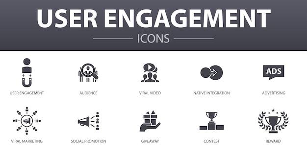 Conjunto de ícones de conceito simples de engajamento do usuário. contém ícones como público-alvo, vídeo viral, publicidade, oferta e muito mais, pode ser usado para web, logotipo, ui / ux