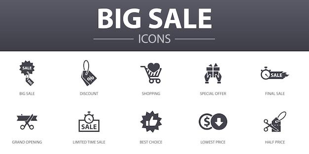 Conjunto de ícones de conceito simples de grande venda. contém ícones como desconto, compras, oferta especial, melhor escolha e muito mais, pode ser usado para web, logotipo, ui / ux