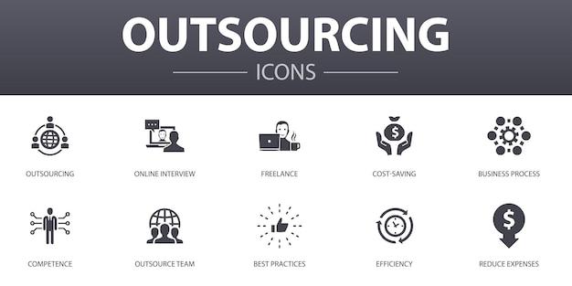 Conjunto de ícones de conceito simples de terceirização. contém ícones como entrevista online, freelance, processo de negócios, equipe terceirizada e muito mais, pode ser usado para web, logotipo, ui / ux