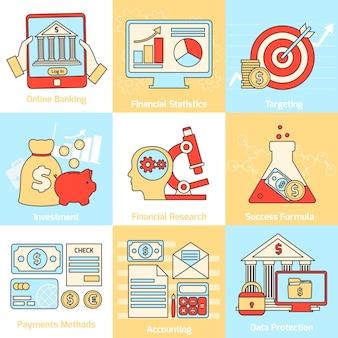 Conjunto de ícones de conceitos financeiros linha plana