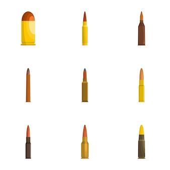 Conjunto de ícones de concha, estilo cartoon