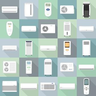 Conjunto de ícones de condicionador, estilo simples