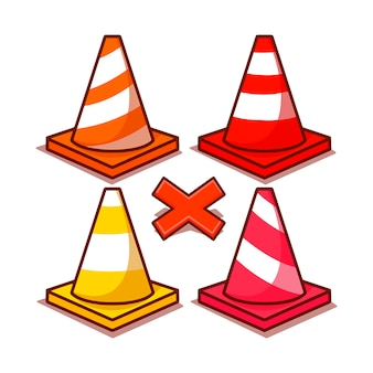 Conjunto de ícones de cones de plástico coloridos.