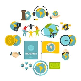 Conjunto de ícones de conexões globais em estilo simples