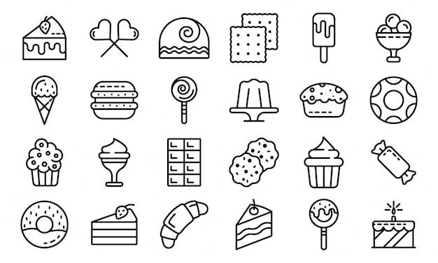 Conjunto de ícones de confeitaria, estilo de estrutura de tópicos