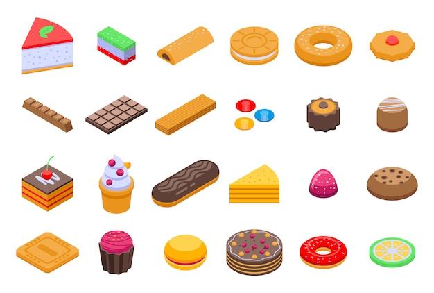 Conjunto de ícones de confeitaria, estilo isométrico