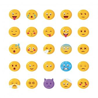 Conjunto de ícones de conjuntos de rostos de emojis