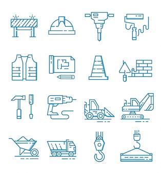 Conjunto de ícones de construção com estilo de estrutura de tópicos