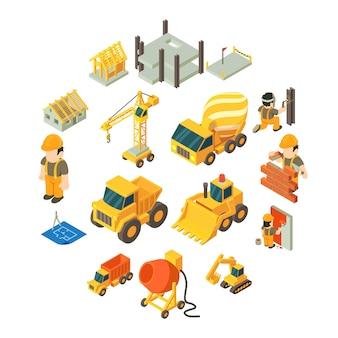 Conjunto de ícones de construção de construção, estilo isométrico