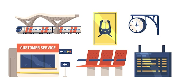 Conjunto de ícones de construção de estação ferroviária, cabine de atendimento ao cliente e exibição de programação digital, relógio, bancos de plástico, trem elétrico, plataforma, isolado no fundo branco. ilustração em vetor de desenho animado