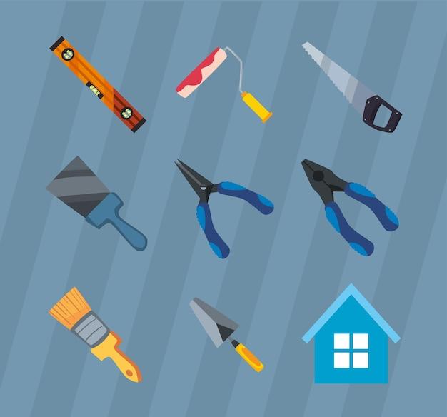 Conjunto de ícones de construção e ferramentas de trabalho
