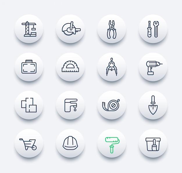 Conjunto de ícones de construção e renovação em estilo linear