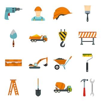 Conjunto de ícones de construção em estilo simples