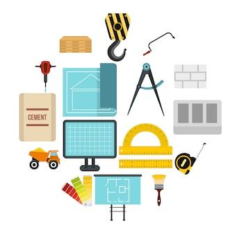 Conjunto de ícones de construção, estilo simples