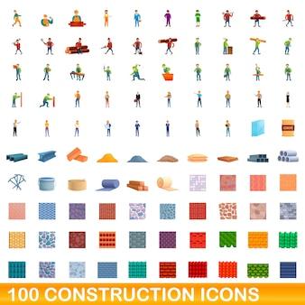 Conjunto de ícones de construção. ilustração dos desenhos animados de ícones de construção em fundo branco