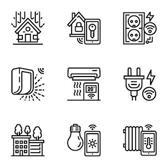 Conjunto de ícones de construção inteligente. contorno definido de 9 ícones de construção inteligente