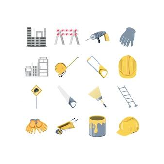 Conjunto de ícones de construção isolada