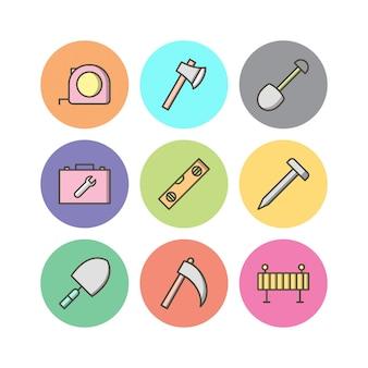 Conjunto de ícones de construção isolado no branco