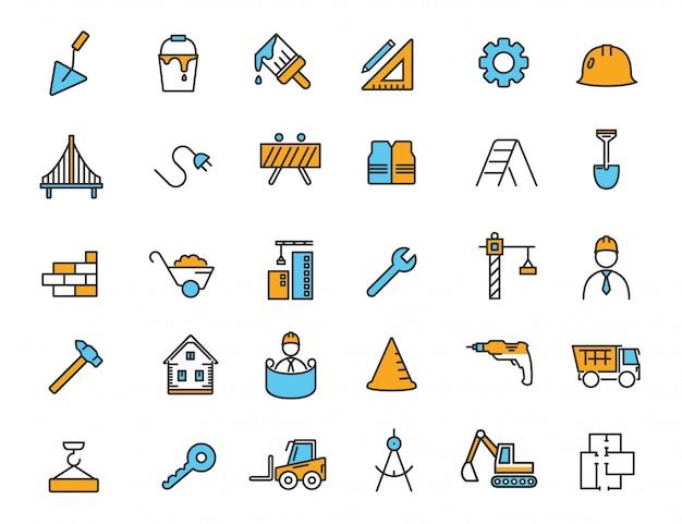Conjunto de ícones de construção linear ícones de engenharia