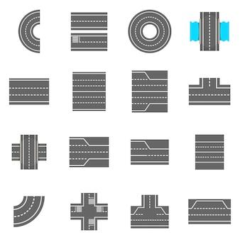 Conjunto de ícones de construtor de elementos de estrada