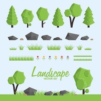 Conjunto de ícones de construtor de paisagem. árvores, elementos de pedra e grama para a paisagem.