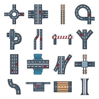 Conjunto de ícones de construtor de peças de estrada
