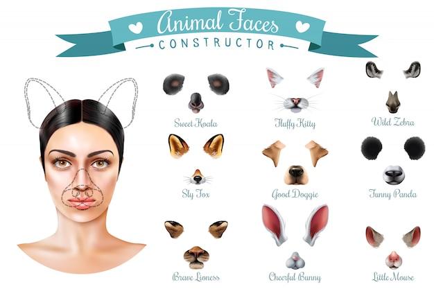 Conjunto de ícones de construtor de rostos de animais fofos
