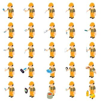 Conjunto de ícones de construtor de trabalhador