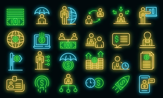 Conjunto de ícones de consultor financeiro. conjunto de contorno de ícones de vetor de consultor financeiro cor de néon no preto
