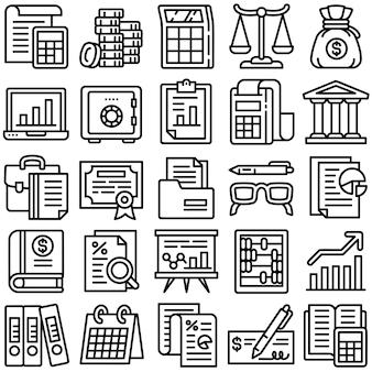 Conjunto de ícones de contabilidade, estilo de estrutura de tópicos