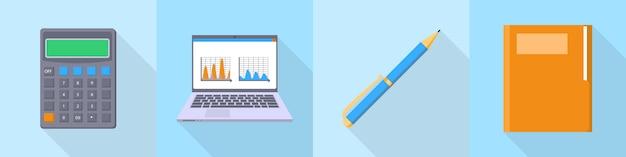 Conjunto de ícones de contabilidade, estilo simples
