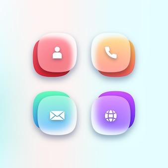 Conjunto de ícones de contato transparentes