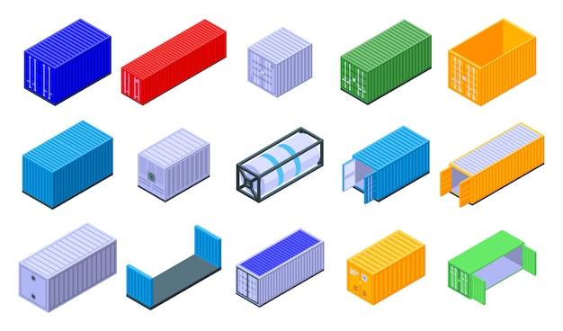 Conjunto de ícones de contêiner de carga, estilo isométrico