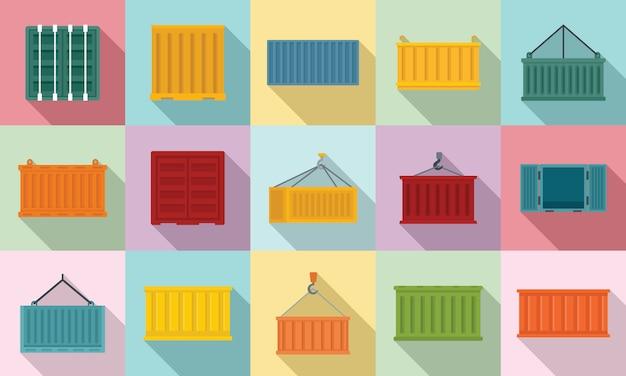 Conjunto de ícones de contêiner de carga