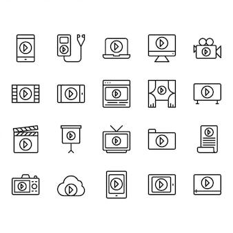 Conjunto de ícones de conteúdo de vídeo