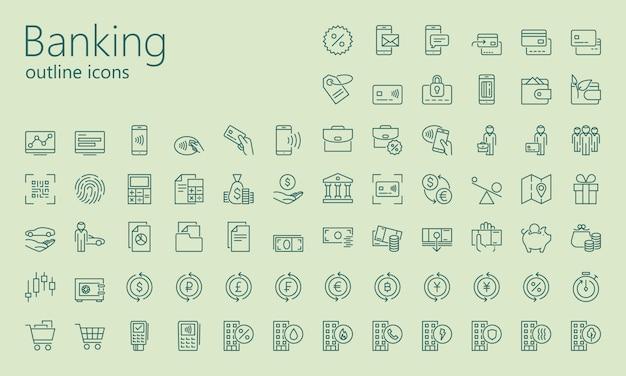 Conjunto de ícones de contorno bancário