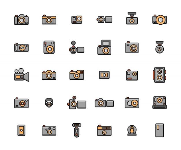 Conjunto de ícones de contorno cheio de câmera