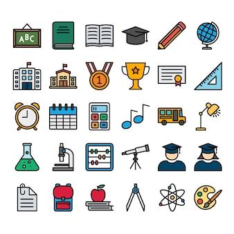 Conjunto de ícones de contorno cheio de educação