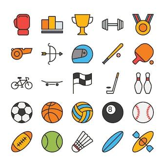Conjunto de ícones de contorno cheio de esporte