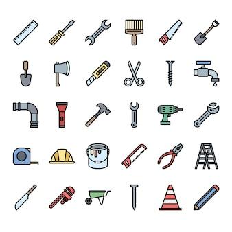 Conjunto de ícones de contorno cheio de ferramentas