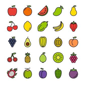Conjunto de ícones de contorno cheio de frutas