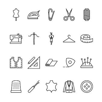 Conjunto de ícones de contorno de alfaiate