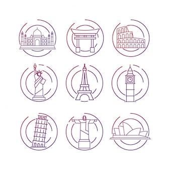 Conjunto de ícones de contorno de atração turística mundialmente famosa